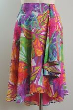 $110 Ralph Lauren Hawaiian Flower Floral Multi-Color Lined Faux Wrap Skirt 12