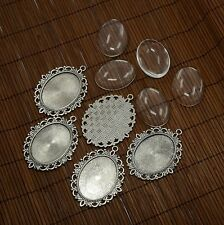 5 Sets 40x30mm Oval Clear Glass Photo Pendants Cabochon Settings Pendant Making