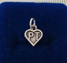 Sterling Silver Small 12x10mm Physical Therapy says PT in Heart Charm!