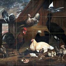Art Farm Rooster Ceramic Mural Backsplash Bath Tile #2221