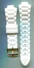 Michele Mans Tahitian Jelly Bean White Silicon Band with shiny yellow buckle