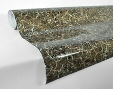Grey brown faux fake marble vinyl furniture wrap roll 1ft x 4ft home decor cover