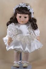 "Leonardo Collection Porcelain Doll 12"" Brown Hair Brown Eyes With Eyelashes"