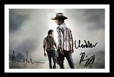 THE WALKING DEAD - ANDREW LINCOLN & CHANDLER RIGGS SIGNED FRAMED  POSTER PHOTO