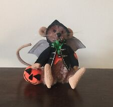 "DEB CANHAM'S ""BATTERS"" A BROWN MINI  MOHAIR MOUSE 2 3/4"" DRESSED AS A BAT"