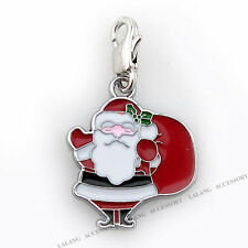 10pcs New Santa Charms Lobster Clip On Beads Pendants Christmas Decorations C