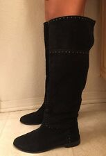 Barney's New York Black Suede Leather Knee High Boots Sz 39/8.5