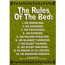 The Rules Of The Bed Funny Novelty Tin Sign Room Decoration