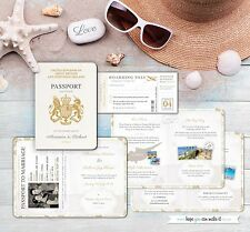 Passport Wedding Invites, Sample Invitation and RSVP Boarding Card