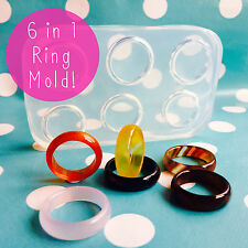 Silicone ring mold-multiples empilable à facettes résine bijoux making mould