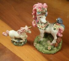 Set of 2 Resin/Ceramic Unicorn Figurines