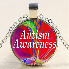 Cabochon Glass Silver charms Pendant Necklace(autism awareness Rainbow)