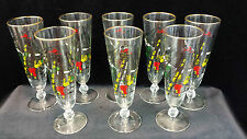 """Vintage Champagne Goblet Pirate Themed 8.5"""" Lot of 8"""