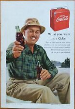 1950's Original Coca-Cola Magazine Ad Coke Fishing IBM LEONARDO DA VINCI