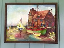 Vintage Oil Paiting Fishing Harbor & Sailboat Wing In Wing Vibrant Color 16x12