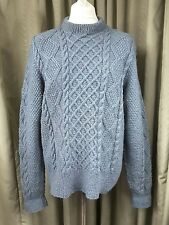 Hand Knitted Aran Cable Teal Jumper - L VERY GOOD CONDITION