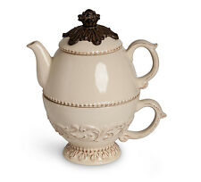 The GG Collection Acanthus Leaf Cream Ceramic with Metal Tea For One Pot and Cup