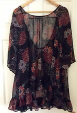 Peace Angel Size ONE SIZE Flowy  Delightful Black Floral Blouse Top