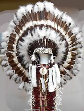 "Native American Navajo 36"" War Bonnet Headdress ""AMERICAN HERITAGE"" brown white"
