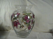 Luminescence Milano Mouth Blown Crystal Vase Hand Decorated Lead Glass Flowers