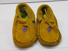 NATIVE AMERICAN BEADED HIDE MOCCASINS CHILDRENS 5 INCHES ADORABLE DIAMOND DESIGN