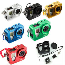 Metal Aluminum Housing Frame Case Mount UV Lens Cap For GoPro Hero 4 Accessories