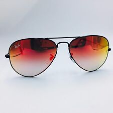 Ray Ban Large Metal RB3025 002/4W Black Aviator Sunglasses Mirrored Fire Lenses