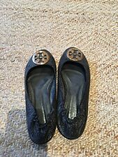 Authentic Tory Burch Reva Black Snake Python Ballet Flats 8 Med GUC