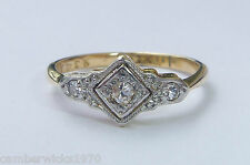 Antique Art Deco 18ct Gold, Platinum & Diamond Three Stone Ring, Size I