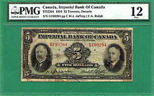 1934 5 DOLLAR BILL IMPERIAL BANK of CANADA FIVE DOLLARS NOTE