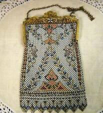 Antique Mandalian Mesh Purse w/Enameled Gold Filigree Frame w/Bird Clasp Fringe
