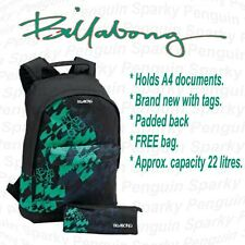Billabong Black & Green Mens/Boys Backpack Rucksack School Bag Set inc FREE bag
