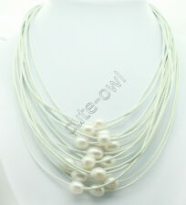 """17-24"""" 15 Row Natural White Akoya pearl White leather magnet Beauty Necklace"""