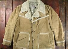 Vtg 70s lee riders en cuir suédé shearling western ranch barn coat 46R