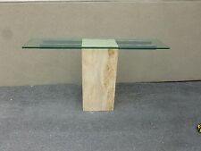 IMPOSING 1970'S ARCHITECTURAL TRAVERTINE MARBLE CONSOLE WITH GLASS TOP