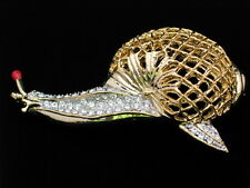 GOLD TONE CLEAR RHINESTONE BUG INSECT CRAWLING SLUG SNAIL PIN BROOCH JEWELRY 3""