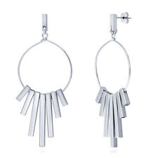 BERRICLE Silver-Tone Bar Fashion Statement Dangle Drop Earrings