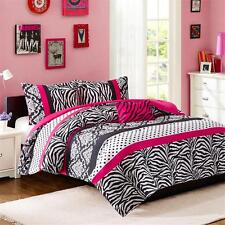 MODERN CHIC HOT PINK ZEBRA BLACK POLKA DOTS DUVET COVER SET FULL QUEEN