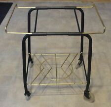 VINTAGE METAL TELEVISION 0R RECORD PLAYER  STAND. ON WHEELS,TOP EXTENDS OUT