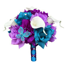 "8"" Bouquet - Turquoise Blue, Purple, Lavender Artificial Roses and Calla Lilies"