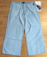 POLO RALPH LAUREN ** WOMENS WIDE LEG POWDER BLUE TROUSERS UK 14 Free UK Post