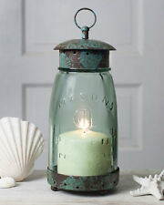 Primitive new distressed tin/glass mason jar candle lantern / nice