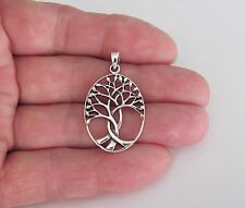 Sterling Silver 29mm oval Tree Of Life pendant