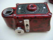 VINTAGE ART DECO MINIATURE CORONET MIDGET BAKELITE 1930 RED COLOUR CAMERA & CASE