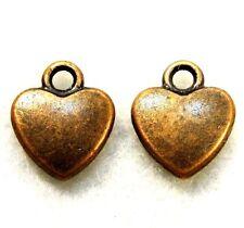 50Pcs. WHOLESALE Tibetan Antique Copper HEART Charms Pendant Earring Drops Q0097