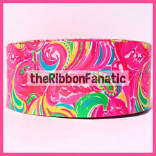 """3 yds 3"""" Lilly Pulitzer Fabric Inspired All Nighter Flamingo Grosgrain Ribbon"""