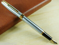 NEW BAOER 388 FOUNTAIN PEN Silvery NOBLEST GOLDEN M NIB With Convertor