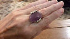 BRAND NEW SILVER  RING WITH A LARGE NATURAL LILAC GEM  STONE  SIZE  M +1/2