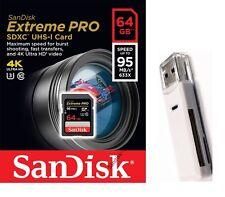 SanDisk 64GB SD 64G SDXC Extreme pro 95MB/s U3 4K USH C10 SDSDXPA-064G +V40 USB