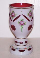 BOHEMIAN CZECH GLASS CASED OVERLAY WHITE CUT TO CRANBERRY HANDPAINTED ROSES VASE